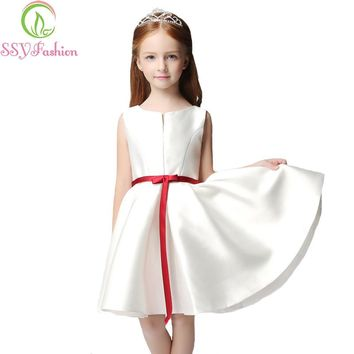SSYFashion 2017 New Simple Satin Flower Girl Dresses for Wedding Short Sleeveless A-line Kids Children's Party Graduation Gowns