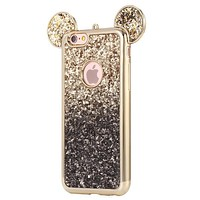 Glittery Bling Grediant Black Micky Mouse Ears Phone Case For iPhone 7 7Plus 6 6s Plus 5 5s SE