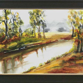 Landscape with alders - original w/c painting by European artist Maga Fabler