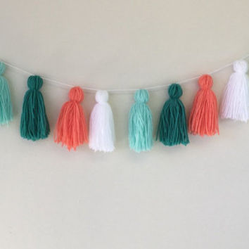Coral, White, Mint, and Teal Tassel Wall Banner, Wall Garland, Party Decortation