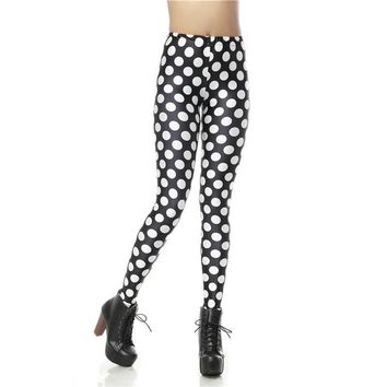 Polka Dots Women's Black & White Slim High Waisted Elastic Printed Fitness Workout Leggings