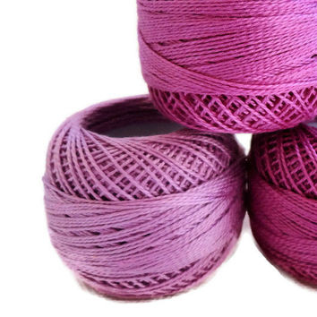 coton yarn 3 balls, fine crochet 8 number,100% mercerized cotton,three tons of purple,One ball's weight is 8gr