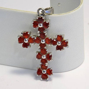 Red Rhinestone Cross Pendant - Ruby Red Crystal Pommee Cross - Vintage Silver Tone