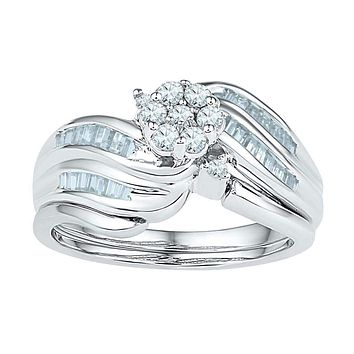 10kt White Gold Women's Diamond Flower Cluster Bridal Wedding Engagement Ring Band Set 1/2 Cttw - FREE Shipping (US/CAN)