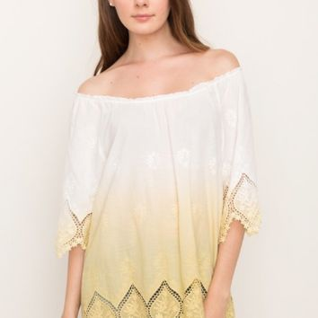 Women's Embroidered Hemline Peasant Blouse