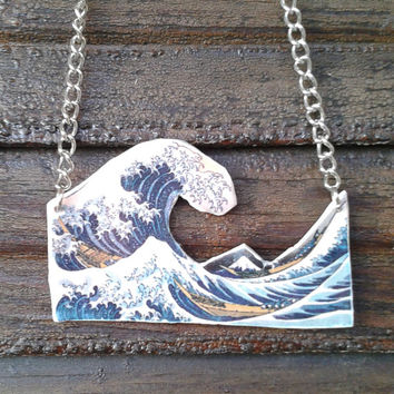 The Great Wave off Kanagawa necklace Hokusai , Wave necklace,  polymer clay transfer , Hokusai painting, Japan,  Japanese art , Asian print