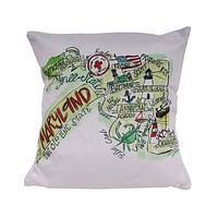 Maryland Roadmap Duck Cloth and Burlap Pillow by Southern Roots