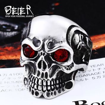 Beier new store 316L Stainless Steel skull rings for men red/blue eye Party Spree Sculpture high quality ring LLBR8-547R