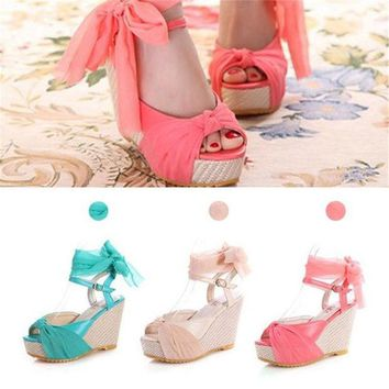 PEAPIX3 Fashion Ankle Strap Slingback Buckle Bohemian Wedge Sandals High Heel Shoes