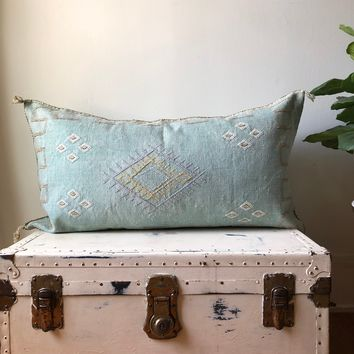 KING SIZE WASHED TURQUOISE CACTUS SILK PILLOW COVER
