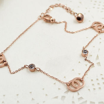 New Arrival Shiny Stylish Ladies Gift Jewelry Cute Sexy Korean Simple Design Titanium Accessory Anklet [8169868679]
