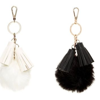 street level Pompom Tassel Key Chain charm in black or white