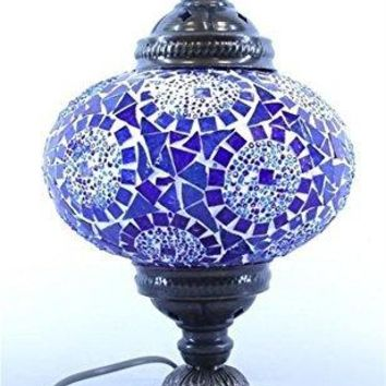 Mosaic Lampshade Table Desk, Handmade Authentic Tiffany Lighting Moroccan Lamp Glass Stunning Bedside Night Lights Brass&Glass Ottoman Turkish Style