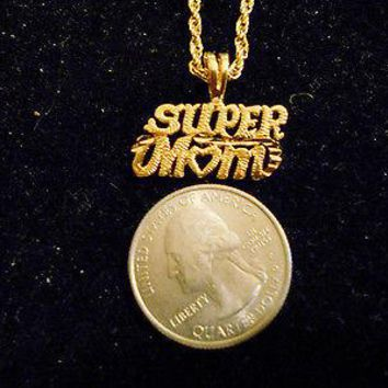 "bling gold plated casino SUPER MOM pimp charm 24"" rope chain hip hop necklace"