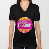 Freedom V-neck T-shirt by Peter Gross | Society6