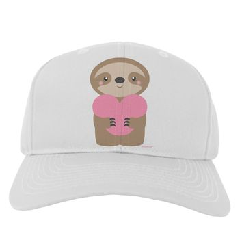 Cute Valentine Sloth Holding Heart Adult Baseball Cap Hat by TooLoud