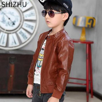 SHIZHU 2017 children coat autumn winter boys warm jacket parkas cool fashion baby's pu leather clothes girls kids clothing