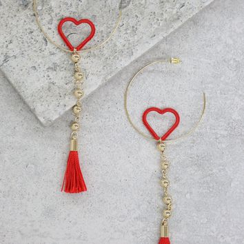 Sassy Heart Drop Hoops in Red and Gold