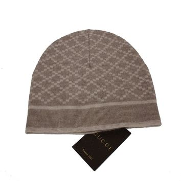 Gucci Men's Wool Diamante Tan Beige Beanie Hat 281600