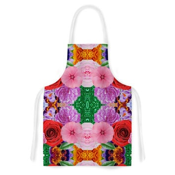 "Vasare Nar ""Kaleidoscopic Flowers"" Pink Red Artistic Apron"