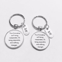 Best Friends True Friendship Long Distance Sisters BFF Gift Keychain Set