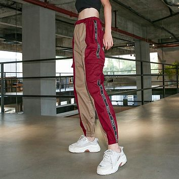 Women Casual Fashion Multicolor Letter Webbing High Waist Cargo Pants Leisure Pants Trousers