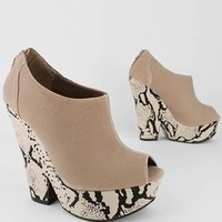 chunky snake platform bootie $28.20 in BLACK COGNAC TAUPE - Chunky Heels | GoJane.com