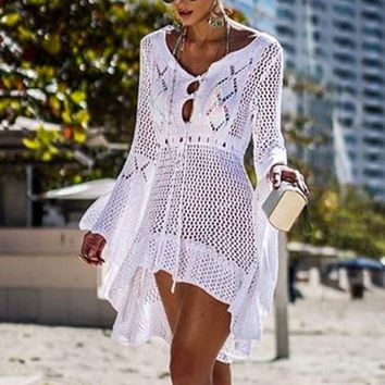 Laamei New Fashion Knitted Tunic Dress Women Swimsuit Covre-up Hollow Out Beach Cover Up Dress Summer Beach Sarong De Plage