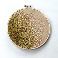 Mossy Green Gradient Embroidery Hoop Art - Autumn - French Knots and Beads