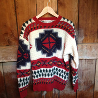 Vintage Indian Blanket Sweater, Wool, Size M