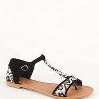 Black Poppy Printed T Strap Sandals at PacSun.com