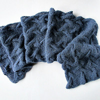Hand knit scarf blue Wool knitted scarf Light warm scarf Knit cable scarf Winter scarf women Neck warmer scarf Wool scarf Valentine gift