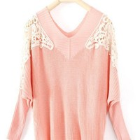 Pink Long Sleeve Hollow Embroidery Pullovers Sweater - Sheinside.com