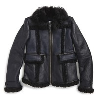 Girl's Burberry 'Shearwellsey' Genuine Shearling Trim Leather Jacket,