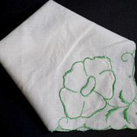 Vintage White Hanky with Green Embroidered & Appliqued Flower,Wedding Hankies, Bridesmaid Gift,Flower Girl Hanky,Vintage Linens