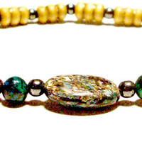 "Men's Bracelet: ""Elite"" Genuine Hematite, Squama Stone, Turquoise, And Wood"