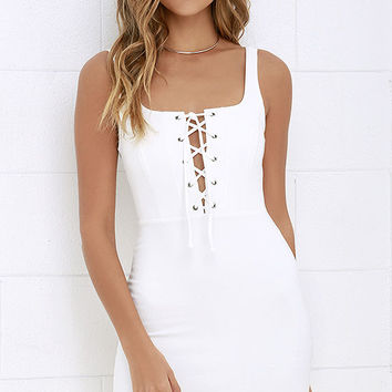 Quite Curious Ivory Lace-Up Dress