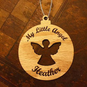 Personalized Angel Wooden Christmas Ornament