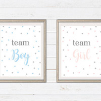 Team Boy Team Girl Printable Party Decor - Gender Reveal Party Decor - Printable Art - Baby Shower Print - Confetti Print - Party Signs