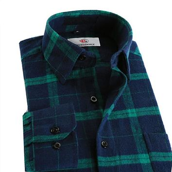 100%Cotton New Men Plaid Long-sleeved Casual Shirts Flannel Slim Fit Spring Male Business Fashion