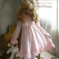 Sweet Dream Pajama Lolita Nightgown Dolly Empire Waist Button Cotton Dress Pink