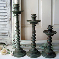 Rustic Candle Holders, Weathered Patina Metal Candlesticks, Tall Candle Holder, Shabby Chic Decor, Farmhouse