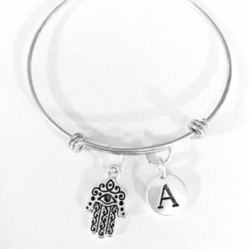 Adjustable Bangle Charm Bracelet Initial Hamsa Hand Eye Jewish Religious Gift