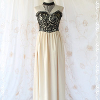 She's The Prom Queen lIl - Gorgeous Cocktail Prom Party Wedding Night Dress Black Lace Top With Cream Beige Maxi Skirt  Size M-L