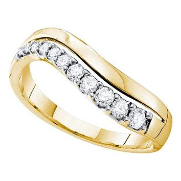 14kt Yellow Gold Women's Round Diamond Curved Single Row Band 1/3 Cttw - FREE Shipping (US/CAN)