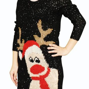 Black Sequin Reindeer Print Round Neck Long Sleeve Casual Christmas Pullover Sweater
