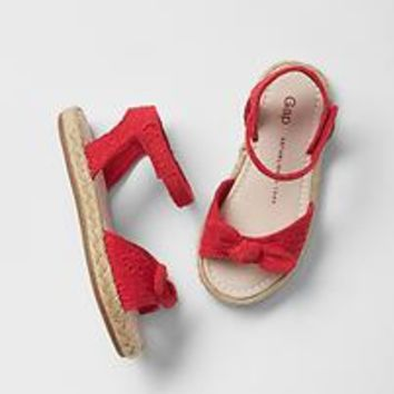Strappy bow jute sandals   Gap