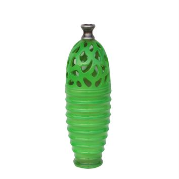 "15"" Lime Green and Gray Decorative Outdoor Patio Cutout Vase"