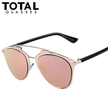 Totalglasses Vintage Metal REFLECTED Sunglasses Women Brand Designer Fashion Sunglass Oculos Original Men Glasses Gafas Feminino