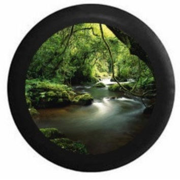 Full Color Scenic Mystic Winding Jungle Tropical Rain Forest River RV Camper Jeep Spare Tire Cover